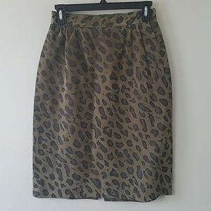 Vintage Leather Leopard Print Pencil Skirt